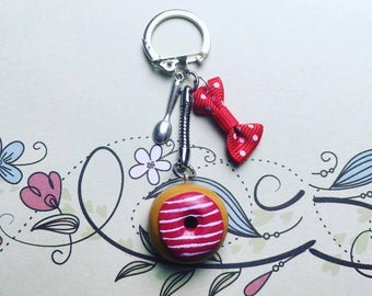 Red with white stripes - polymer clay Donut keychain