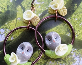 """Earrings """"perched OWL"""" cold porcelain"""