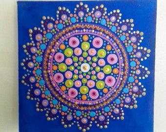 Mandala Wall Art,  Blue, Turquoise, psychedelic art, original art, acrylic painting, hippy, boho, eastern art, Hippie gift, Mandala Art