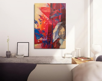 Abstract Portrait Painting, Gift For Her Painting, Portraits, Abstract Wall Art, Canvas Art, Portraits Painting, Large Painting