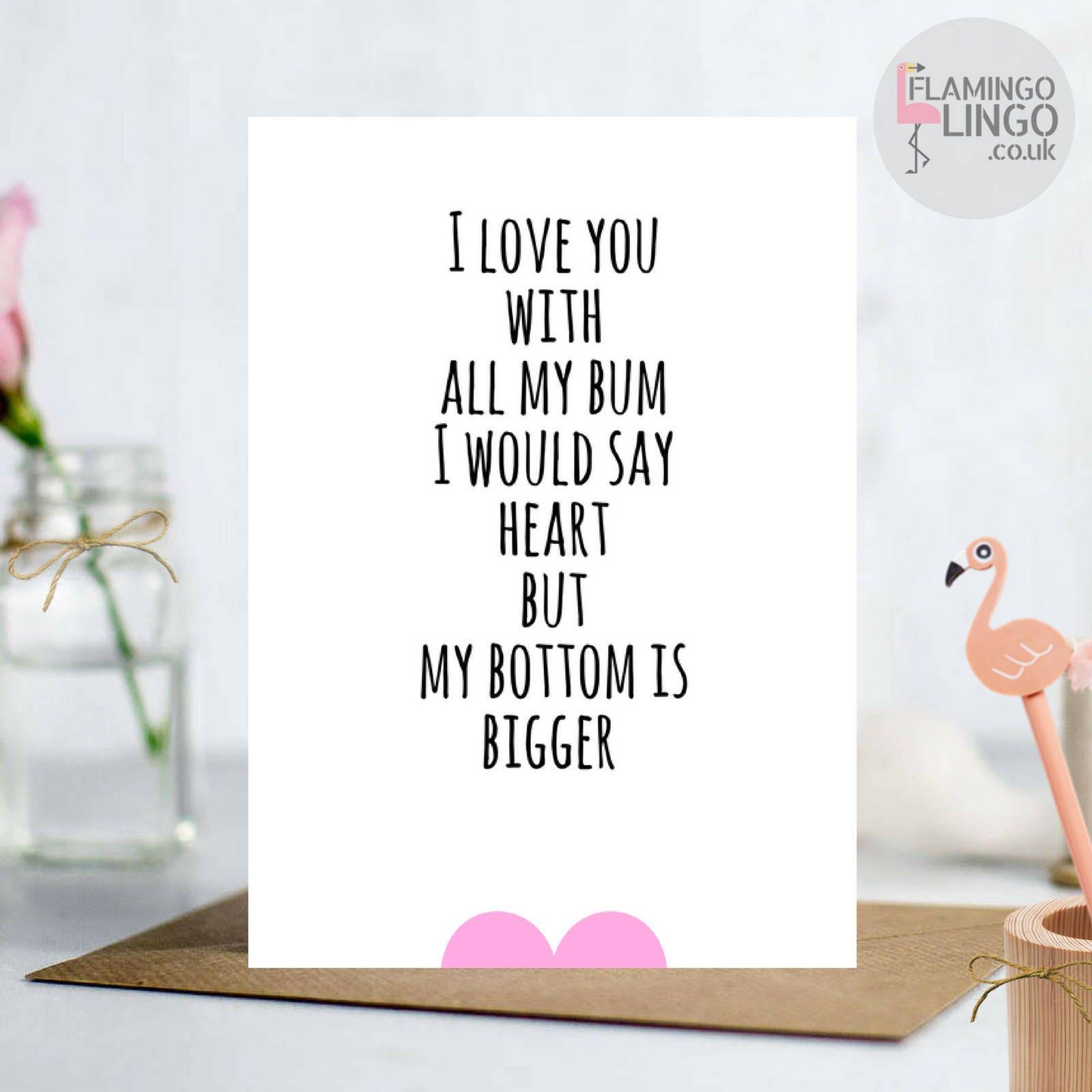 Funny Rude Bum Ass Birthday Greeting card Husband Wife