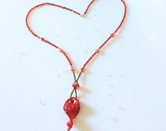 Red Twist Glass Long Pendant