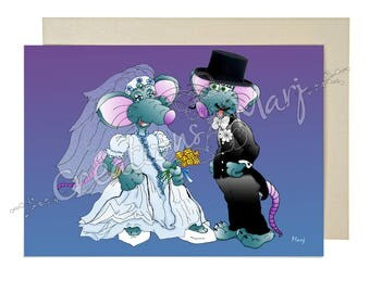 Wedding, marriage, funny card, congratulations, Union card, card, engagement card mouse