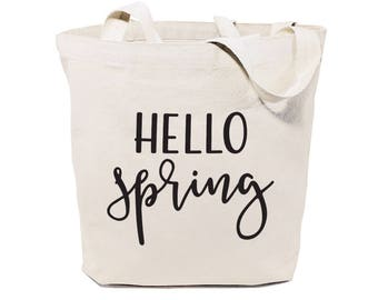 Cotton Canvas Hello Spring Beach, Shopping and Travel Reusable Shoulder Tote and Handbag, Gifts for Her, Outdoor, Farmers Market, Florals