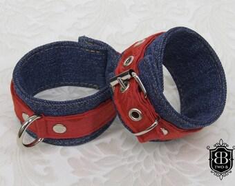 Handcuffs BDSM bondage cuffs red jeans