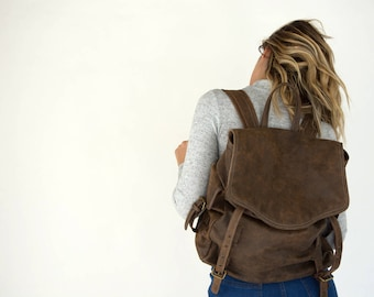 Expandable leather backpack, large leather backpack, convertible backpack, leather rucksack, brown leather backpack, laptop backpack