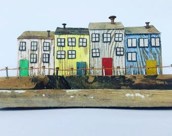 happy house, wood house, tiny house, driftwood art, reclaimed wood, Richidriftwoodart, rustic home decor, boardwalk, rust, colorful house