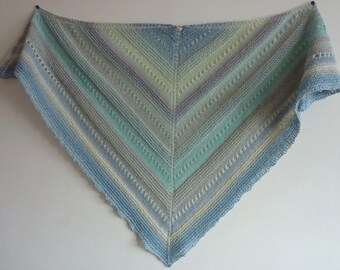 Blue triangle shawl light pure wool