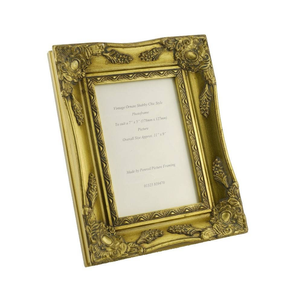 08b39ca8a7b Shabby Chic Ornate Distressed Gold vintage swept picture frame for a 7