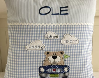 Personalized pillow, name pillow with Bear