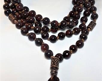 Brecciated Jasper Mala, Hand Knotted, 108 Beads