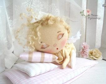Art doll, fabric doll, Soft doll, rag doll, textile doll, interior doll, doll, cloth doll, home decor, little angel, sleeping doll