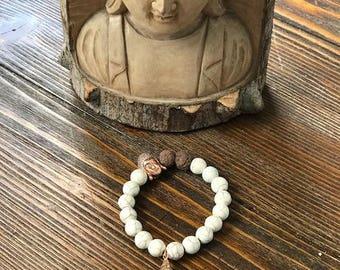 White Howlite beaded healing bracelet w/lava rocks and gold filled shell charm