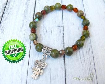 Green Unakite Owl bracelet Gemtone jewelry Big Owl bangle Healing Accessories Protection Bracelet Boho Owl gift ideas Bracelet Owl jewelry