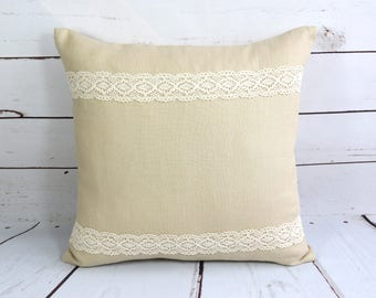 Linen cushion cover, lace trim pillow cover, natural linen pillowcase, beige cushion cover, linen room decor, linen gift, throw pillow cover
