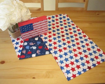 4th of July Table Runner | Red and Blue Stars, Patriotic Table Runner, Independence Day Party, 4th of July Table Runner, USA Whales