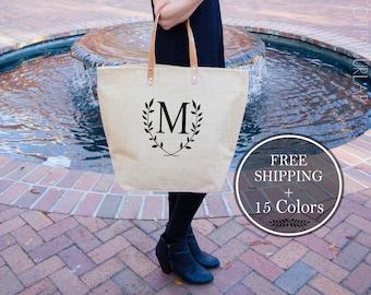 Bridesmaid Gift, Monogrammed Tote Bags with Pocket, Personalized Totes, Personalized Gift for Teen Girls, Burlap Weekender Bag, Travel Totes