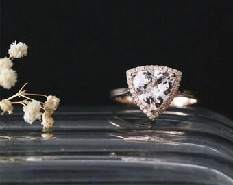 Classical Halo Ring 8mm Trillion Cut Peach Morganite Engagement Ring Gemstone Ring 14K Rose Gold Engagement Ring Bridal Ring Anniversay Ring