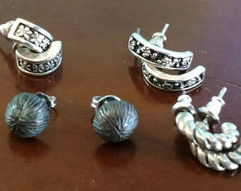 Choice of Vintage Earrings - Silver/Pewter White Metal