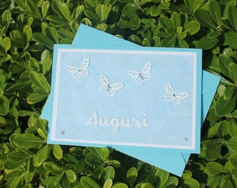 Baby Baptism Card, Cute Card, Romantic Card, Love Card, Blu Card, Newborn, Greeting Card, Little Boy, Pregnant, Welcome Baby, Handmade Card