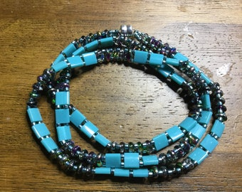Teal and Silver Iridescent 3 Wrap Bracelet