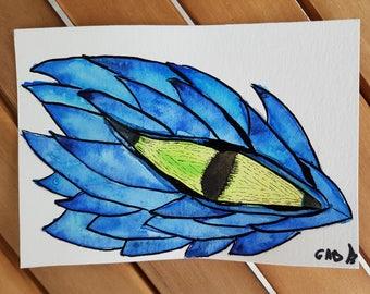 Postcard dragon's eye original watercolor