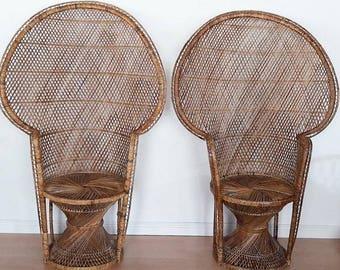 Pair of Vintage Peacock Chairs Bohemain Wedding