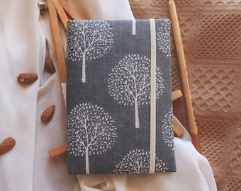 Handmade Notebook  Planner Journal with covers made of cotton | Sketchbook A6 | blue trees print