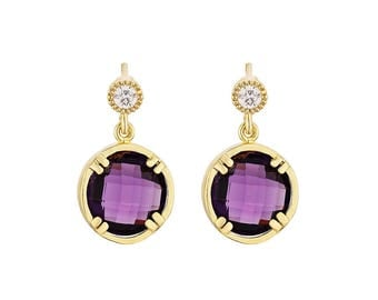 Earring - Gold Plated, Purple - Brass, Zircon, Glass Stone - Elegant - Anniversary