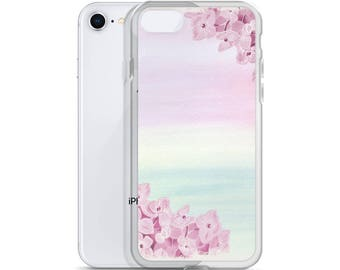 iPhone 5 6 7 8 Case Watercolor Colorful Pink Purple Flowers Women's Gift Idea Protective iPhone Case Paint Wedding