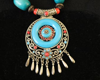 Tibetan Silver Filigree & Turquoise Center Disk Chunky Necklace