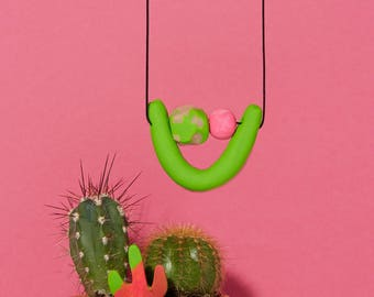 Solid Neon Green and Hot Pink U-Shaped Necklace