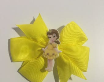 Beauty and the beast belle hair bow