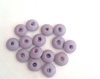 Set of 15 beads grey purple flat wooden 1 cm diameter