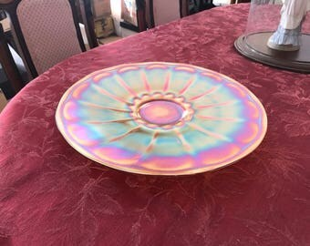 Large round iridescent orange carnival glass platter
