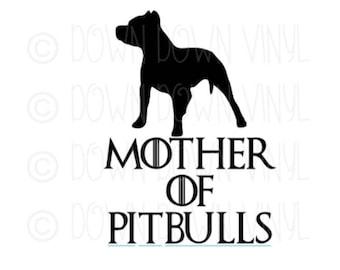 "Mother of Pitbulls   Father of PItbulls   5.5"" Vinyl Decal   Fandom   GOT   Dog Mom   Dog Parents"