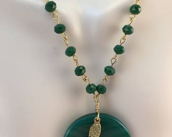 Jade Pendant Necklace, Swarovski Butterfly Necklace, Green Gemstone Long Necklace, Best for her