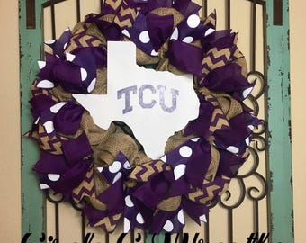 TCU Wreath, Texas Christian University Wreath, Horned Frogs, Burlap Wreath, TCU, Front Door Wreath