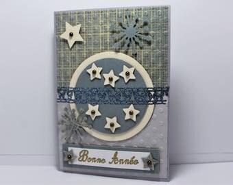 "handmade grey/nightblue ""Happy new year"" V20 double greeting card"