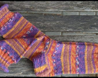Hand knitted Socks women's size UK 4,5-6, US 7-8