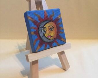 "Mini Sun & Moon Painting, 2x2"", acrylic on canvas"