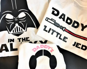 Family Set**Star Wars Best Dad In The Galaxy / Gift / Disney / Darth Vader Princess Leia Jedi / Daddy Daughter Son / Matching Shirts