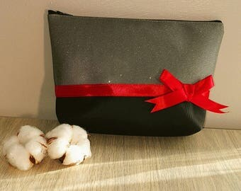 Make-up pouch fabric gray and black swarovski