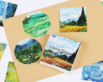 45 pcs Van Gogh Stickers set, planner stickers, bullet journal, craft stickers, planner accessories