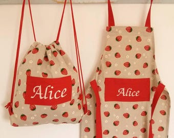 Strawberry Aprons. Toddler to Adult size. Can be personalised. #pimms #summer #kitchenchic