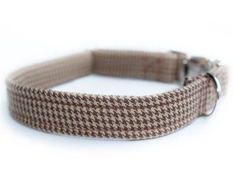 Brown Houndstooth Dog Collar