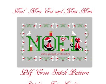 Christmas mini black cat digital cross stitch pdf pattern, cross stitch design, christmas cat cross stitch, black cat cross stitch chart.