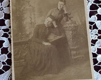Leaning In Friends or Sisters - Antique Photo Cabinet Card full length portrait