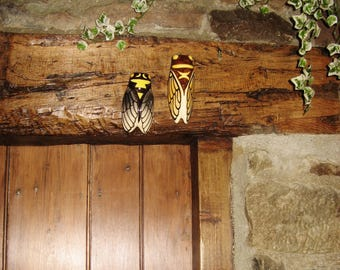 Two Small Size Vintage French Hand Decorated Majolica Cigale / Cicada Wall Pockets