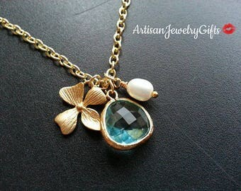 Aqua Gem Gold Orchid Pearl Necklace Aqua Gem Necklace Gold Orchid Necklace Bridesmaid Necklace Mother's Day Gift For Her Bridal Necklace